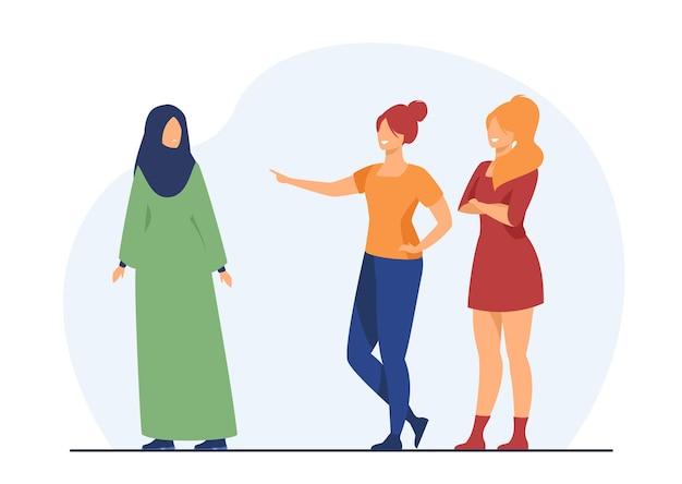 Meninas intimidando colega de classe muçulmana. ilustração de desenho animado