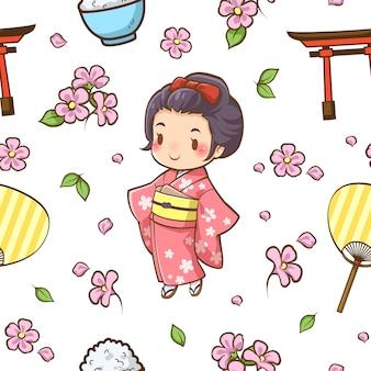 Meninas japonesas de padrão sem emenda e vetor de acessórios