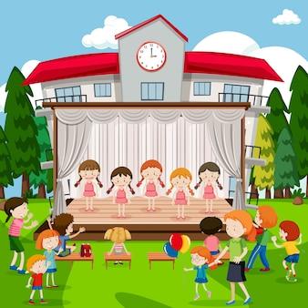 Meninas jovens em show de bailarina