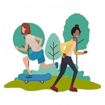 Meninas jovens praticando personagens do esporte