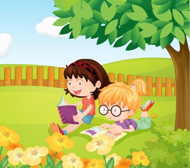 Meninas, leitura, livros