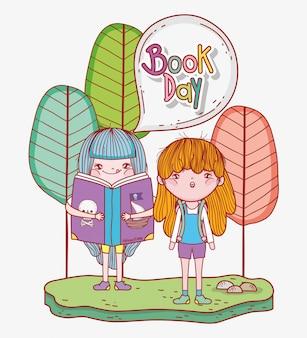 Meninas ler livros de literatura com árvores