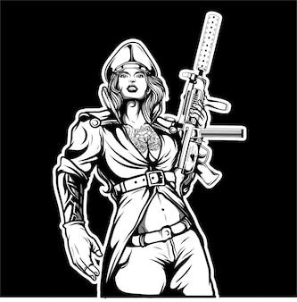 Meninas militares, segurando a arma