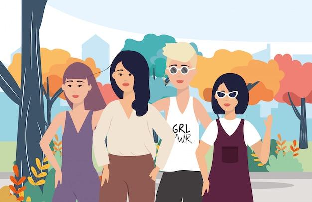 Meninas modernas com roupas casuais e penteado