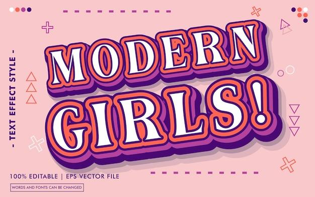 Meninas modernas! estilo de efeitos de texto