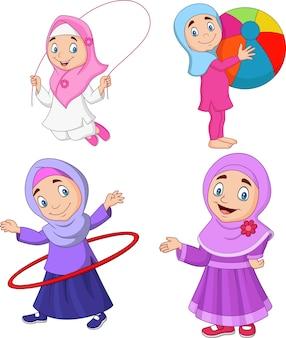 Meninas muçulmanas dos desenhos animados com passatempos diferentes