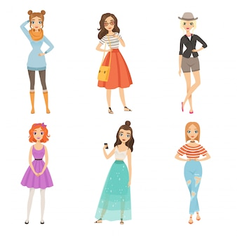 Meninas na moda. personagens femininas de desenhos animados em várias poses de moda