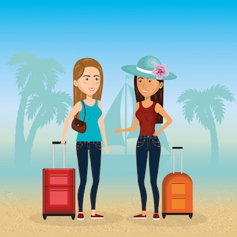 Meninas nas personagens de praia