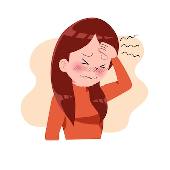 Meninas ou mulher ou pessoas com dor de cabeça. enxaqueca. estresse. depressão. expressão de frustração e raiva. conceito de doença. isolado. ilustração em estilo cartoon plana. saúde e medicina