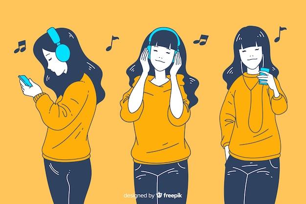 Meninas ouvindo música no estilo de desenho coreano