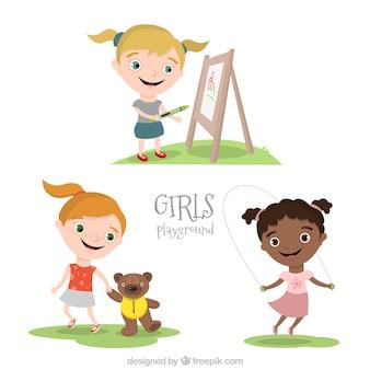 Meninas parque infantil