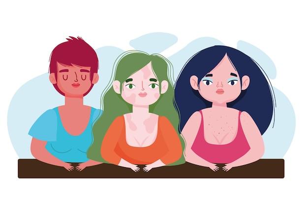 Meninas perfeitamente imperfeitas e diversificadas com vitiligo plus size cartoon ilustração