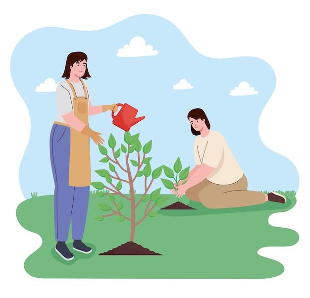 Meninas plantando personagens