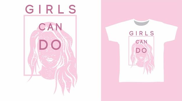 Meninas podem fazer design de camisetas com tipografia