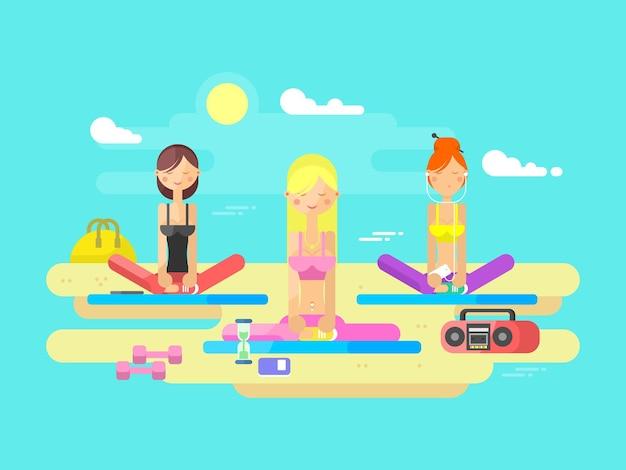 Meninas praticando ioga. exercício físico, mulher saudável, corpo relaxado, pose de meditação zen, equilíbrio de treinamento, ilustração