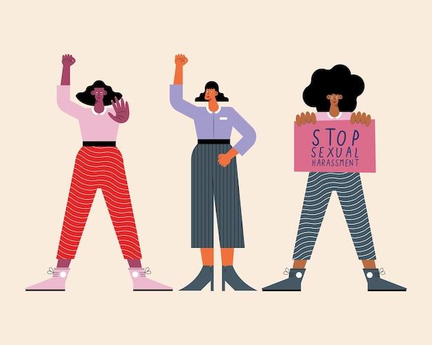 Meninas protestando por assédio sexual