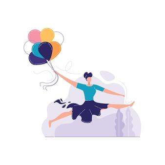 Meninas pulando com balões ilustração em vetor