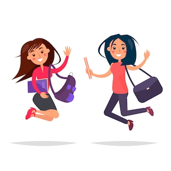 Meninas pulando com livros e sacos