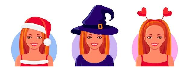 Meninas ruivas e sorridentes usando fantasias de máscaras para o natal, dia das bruxas e dia dos namorados