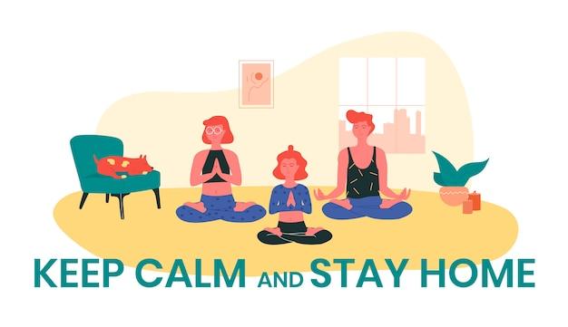 Meninas ruivas fazendo yoga em casa enquanto seu cachorro está dormindo perto deles. mantenha a calma e fique em casa, ilustração.