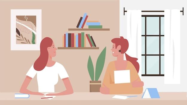 Meninas se comunicam em ilustração vetorial de casa. desenhos animados de personagens de amigas jovens sentadas à mesa de estudo com livros