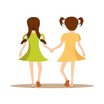 Meninas, segurando, mãos, vista traseira, feliz, amizade, dia