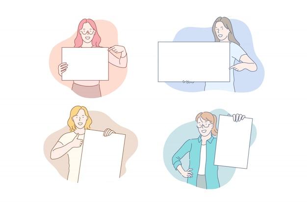 Meninas, segurando o conceito de cartazes vazios