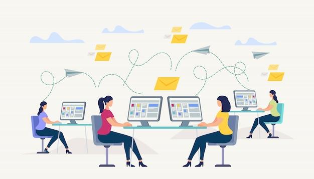 Meninas, sentado no monitor do computador. pessoas conversando
