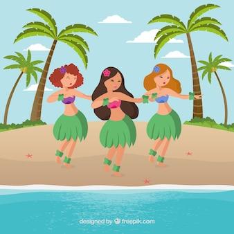 Meninas sexy dançando na praia