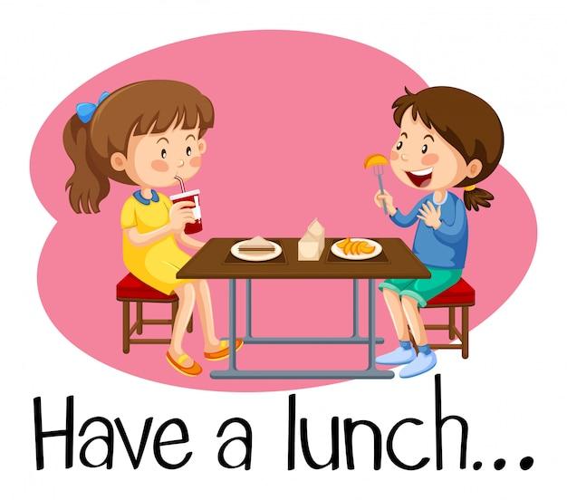 Meninas, tendo almoço, em, cafeteria