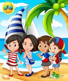 Meninas, tendo divertimento, praia