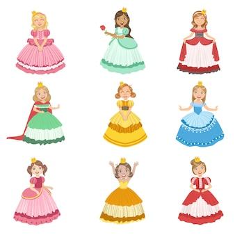 Meninas vestidas como princesas de conto de fadas