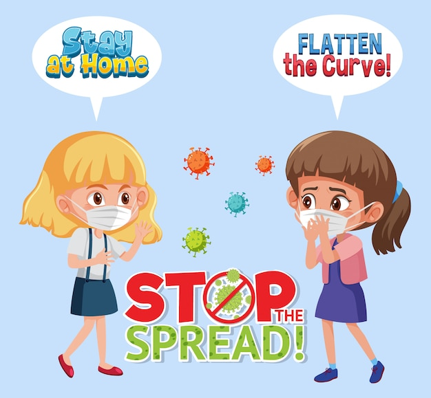 Meninas vestindo com parar de espalhar sinal de vírus