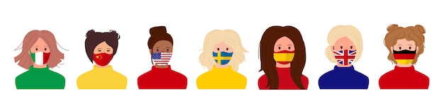 Meninas vestindo máscaras médicas bandeiras coloridas de diferentes países conjunto de desenhos animados. pare o coronavírus
