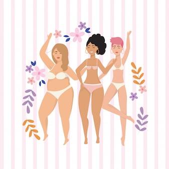 Meninas vestindo roupas íntimas e estilo de vida postura corporal