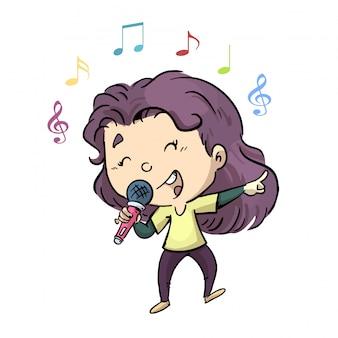 Menininha, cantando, com, um, microfone