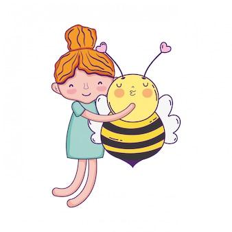 Menininha, com, abelha, kawaii, personagem