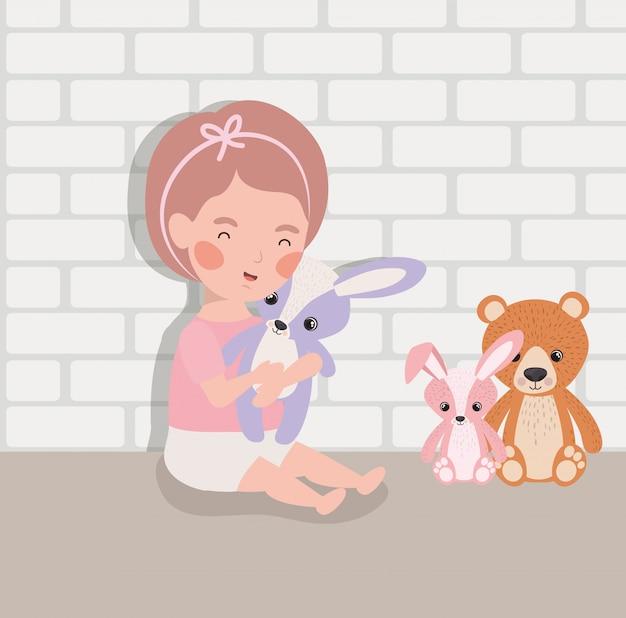 Menininha, com, enchido, brinquedos, personagem