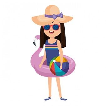 Menininha, com, flamengo flamengo, e, praia, balloon