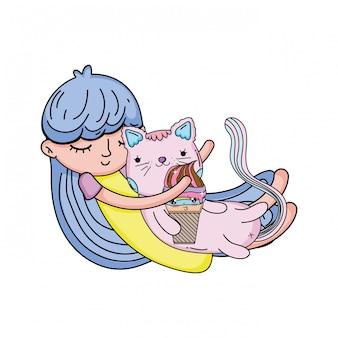 Menininha, com, gato, kawaii, personagem