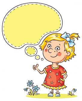 Menininha, com, um, bolha discurso, mostrando, sinal, de, aprovação