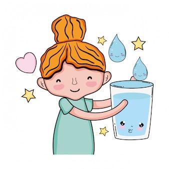 Menininha, com, vidro, água, kawaii, personagem