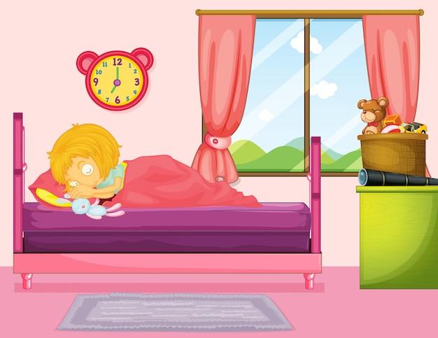 Menininha, dormir, em, quarto