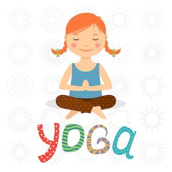 Menininha, fazendo, ioga
