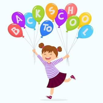 Menininha, segurando, balões, com, letras