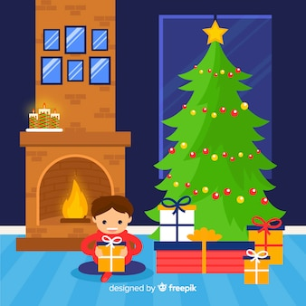 Menino, abertura, presentes, natal, ilustração