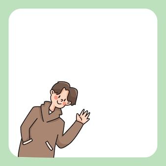 Menino, acenando, bloco notas, bonito, caricatura, ilustração