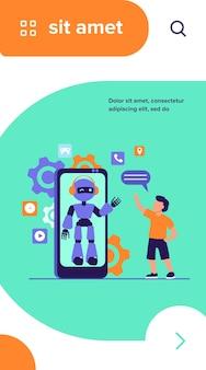 Menino acenando olá para o humanóide na tela do smartphone