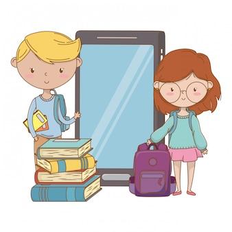 Menino adolescente, e, menina, caricatura, desenho