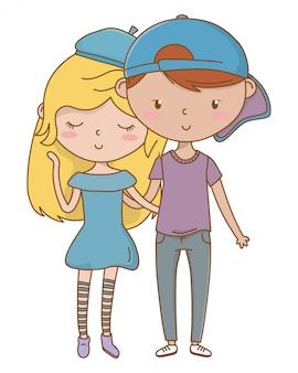Menino adolescente, e, menina, de, caricatura
